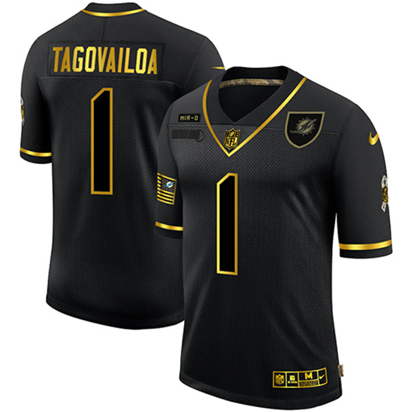 Men's Miami Dolphins #1 Tua Tagovailoa 2020 Black/Gold Salute To Service Limited Stitched NFL Jersey