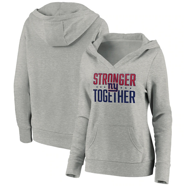 Women's New York Giants Heather Gray Stronger Together Crossover Neck Pullover Hoodie(Run Small)