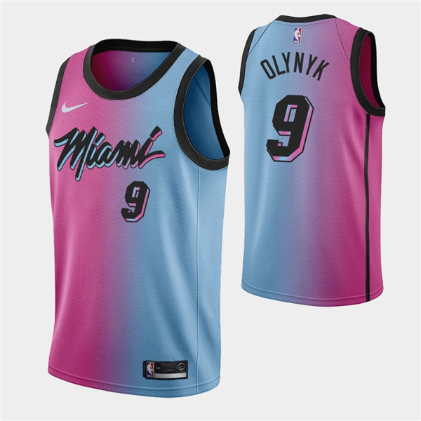 Men's Miami Heat #9 Kelly Olynyk 2021 Blue/Pink City Edition Vice Stitched NBA Jersey