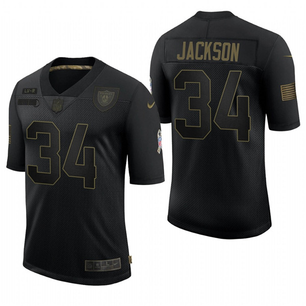 Men's Las Vegas Raiders #34 Bo Jackson Black 2020 Salute To Service Limited Stitched NFL Jersey
