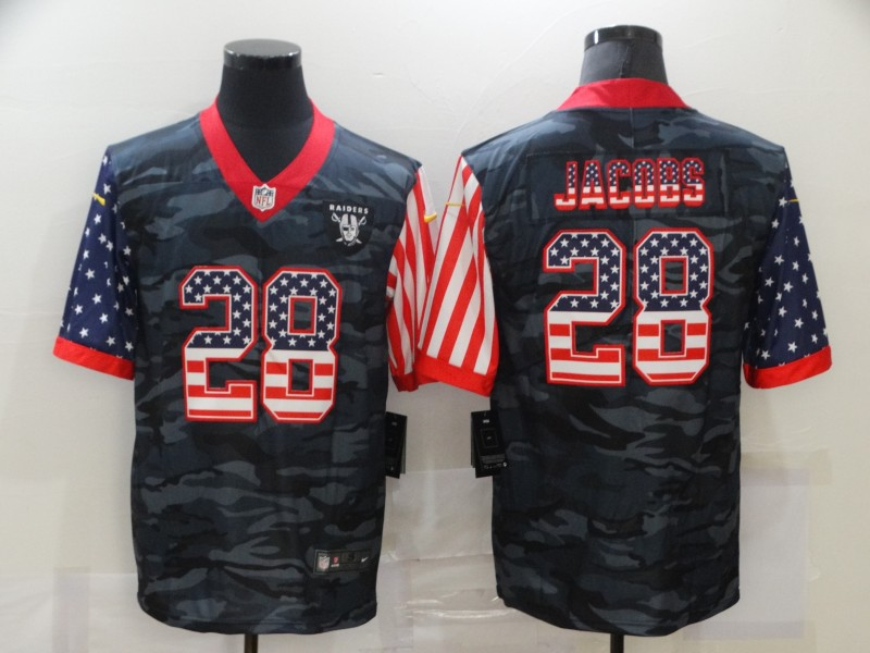 Men's Las Vegas Raiders #28 Josh Jacobs 2020 Camo USA Flag Limited Stitched NFL Jersey