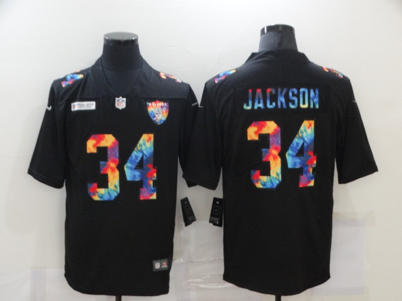 Men's Las Vegas Raiders #34 Bo Jackson 2020 Black Crucial Catch Limited Stitched NFL Jersey