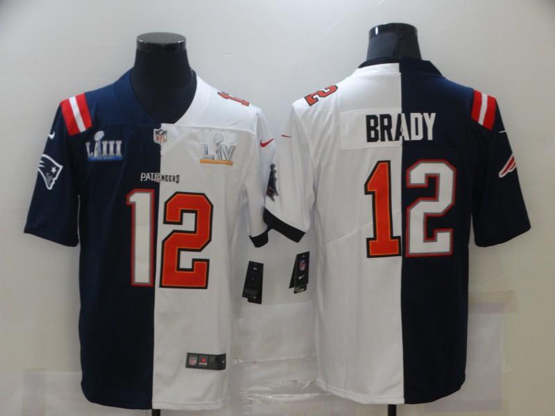 Men's Tampa Bay Buccaneers #12 Tom Brady White Navy Super Bowl Split GOAT Stitched NFL Jersey
