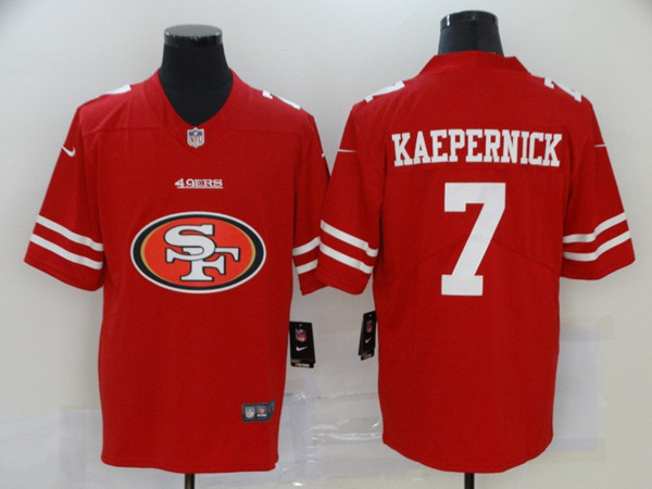Men's San Francisco 49ers #7 Colin Kaepernick Red 2020 Team Big Logo Limited Stitched NFL Jersey