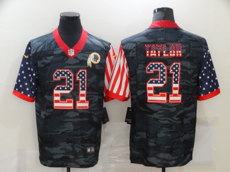 Men's Washington Football Team #21 Sean Taylor 2020 Camo USA Flag Limited Stitched NFL Jersey