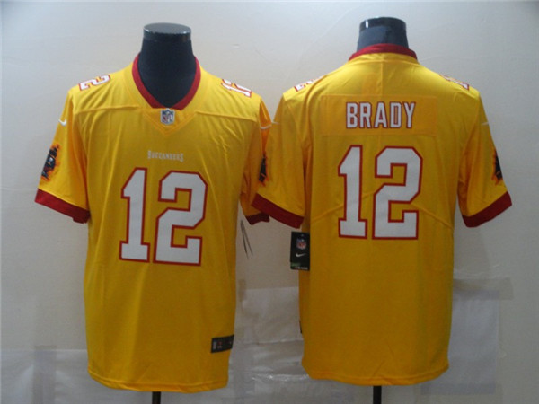 Men's Tampa Bay Buccaneers #12 Tom Brady Yellow Limited Stitched NFL Jersey