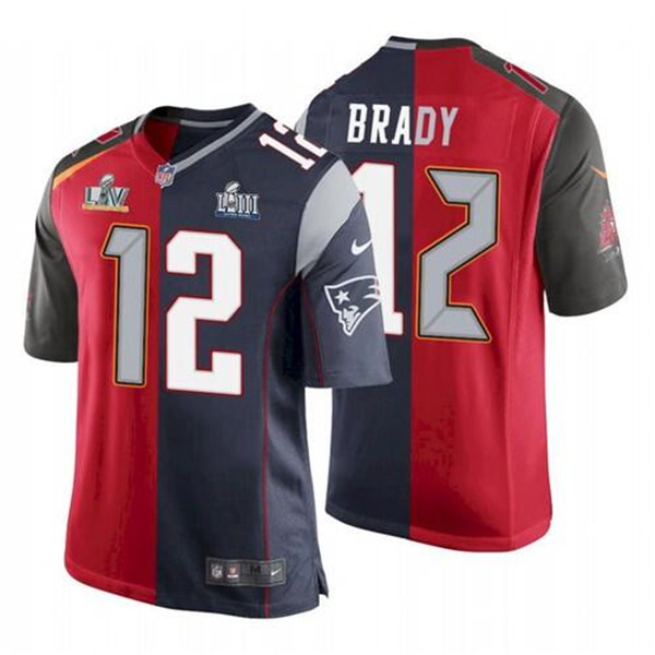 Men's Tampa Bay Buccaneers #12 Tom Brady Red Navy Super Bowl Split GOAT Stitched NFL Jersey