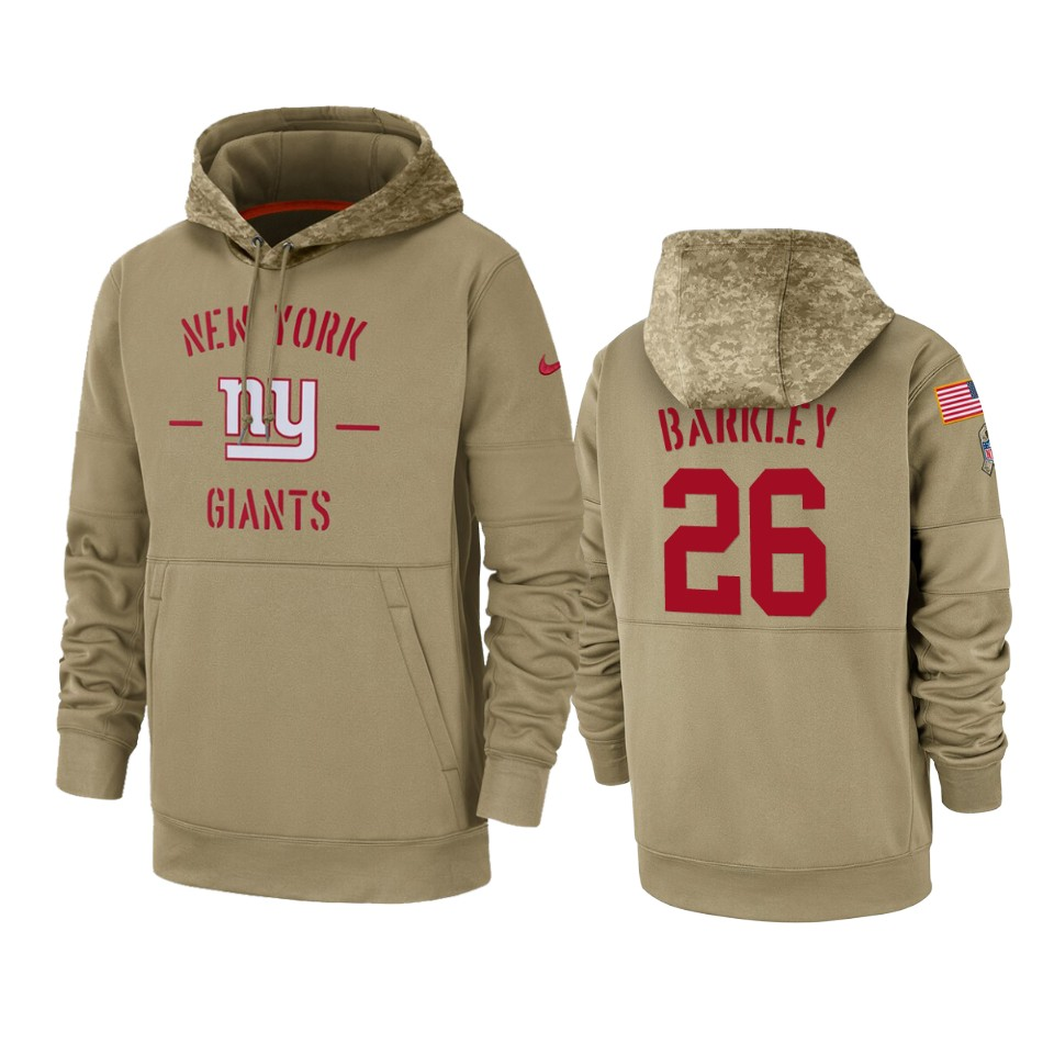 Men's New York Giants #26 Saquon Barkley Tan 2019 Salute to Service Sideline Therma Pullover Hoodie