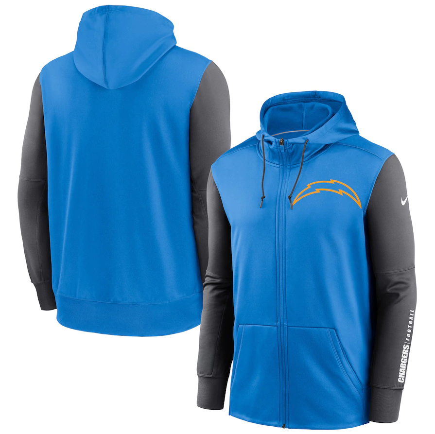 Men's Los Angeles Chargers Blue/Charcoal Fan Gear Mascot Performance Full-Zip Hoodie
