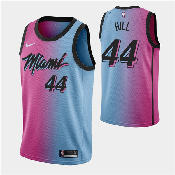 Men's Miami Heat #44 Solomon Hill 2021 Blue/Pink City Edition Vice Stitched NBA Jersey
