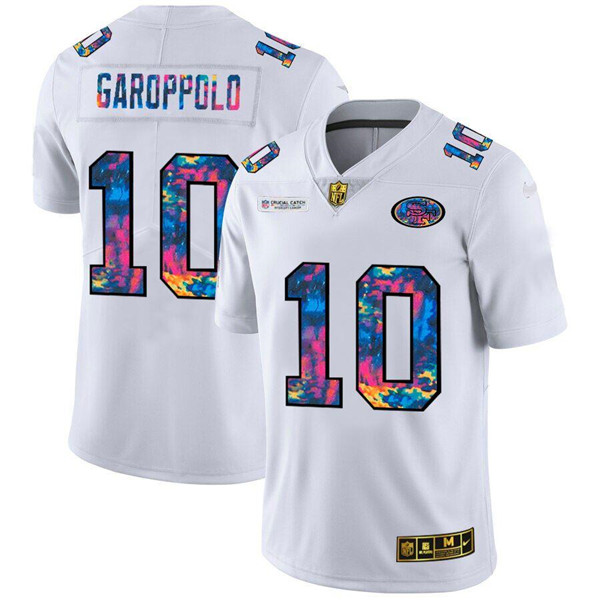 Men's San Francisco 49ers #10 Jimmy Garoppolo 2020 White Crucial Catch Limited Stitched NFL Jersey
