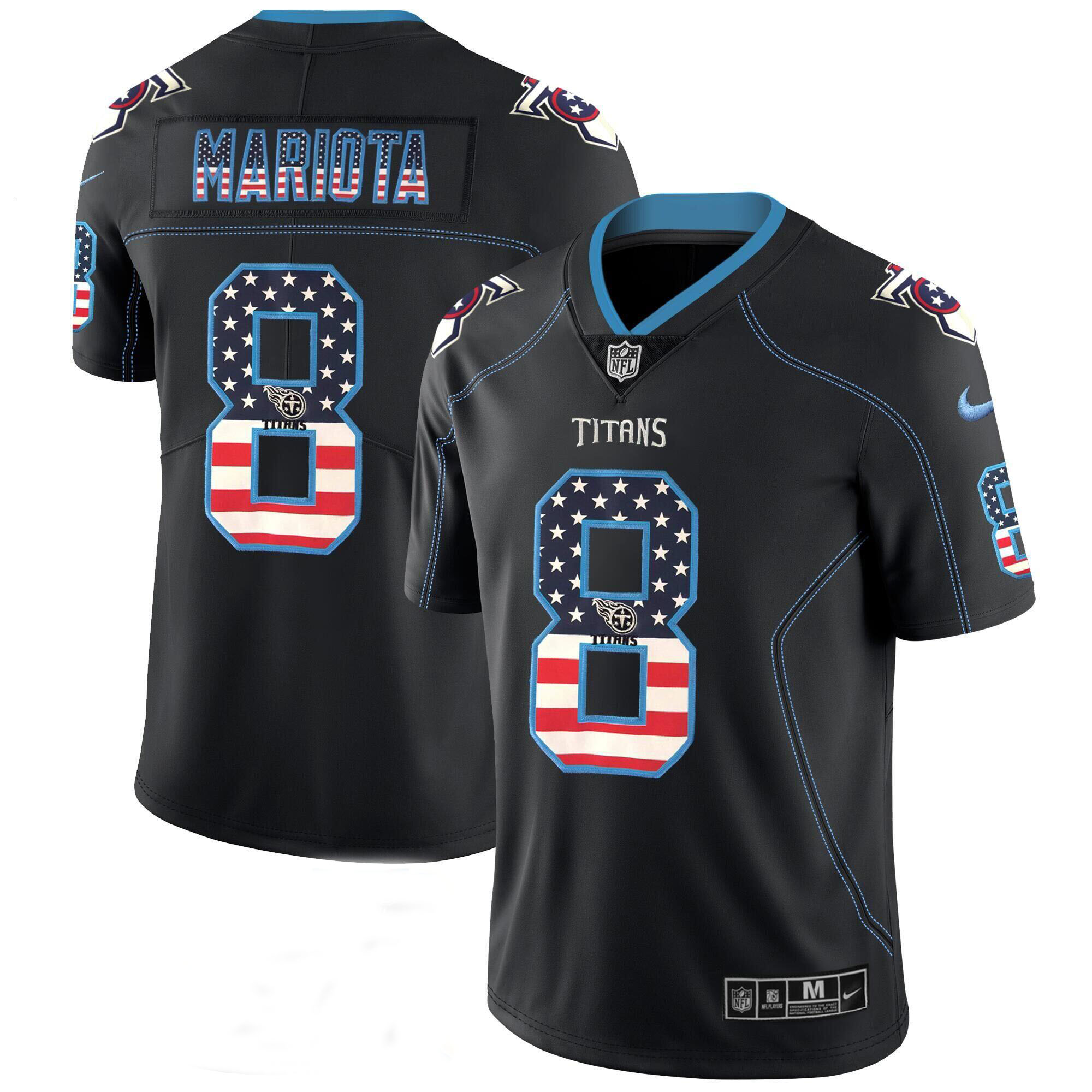 Men's Titans #8 Marcus Mariota Black 2018 USA Flag Color Rush Limited Fashion NFL Stitched Jersey
