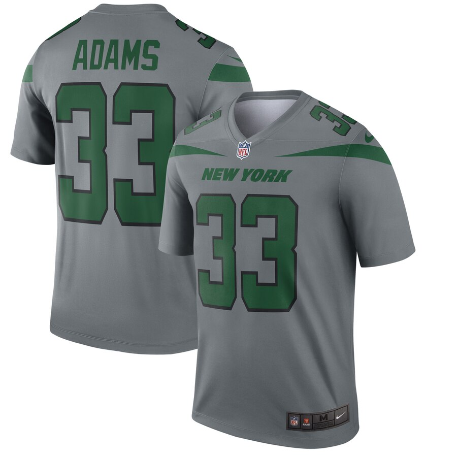 Men's New York Jets #33 Jamal Adams Gray Inverted Legend Stitched NFL Jersey