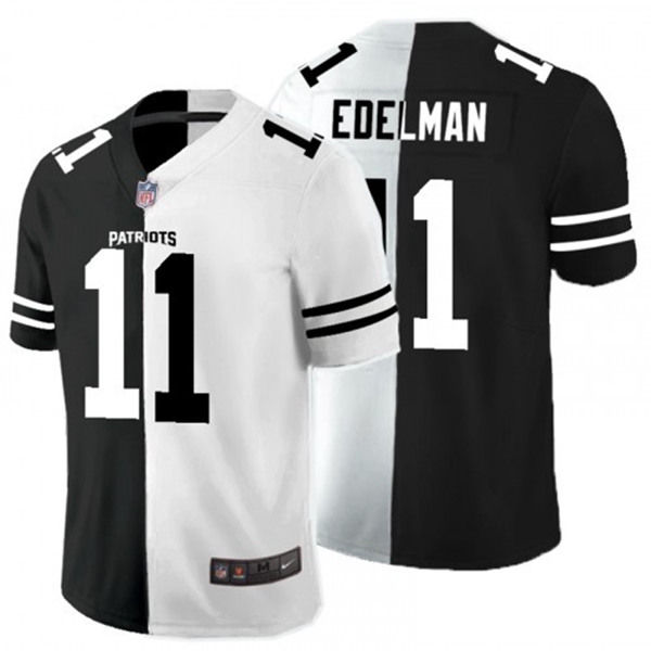 Men's New England Patriots #11 Julian Edelman Black White Split 2020 Stitched Jersey