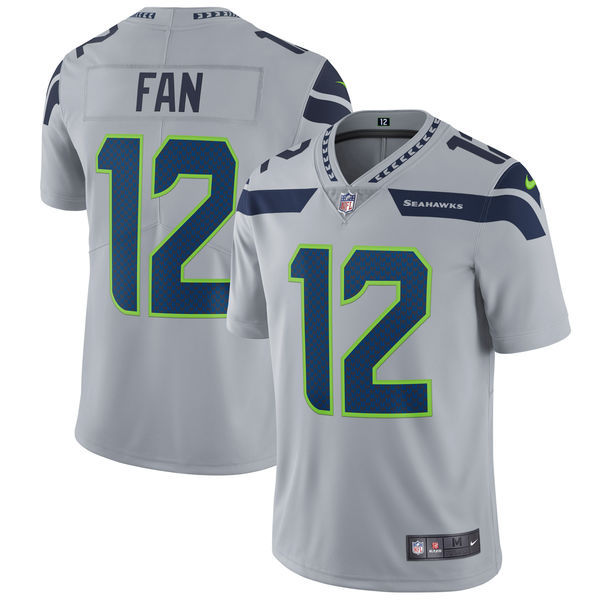 Men's Seattle Seahawks #12 Fan Nike Gray Vapor Untouchable Limited Stitched NFL Jersey