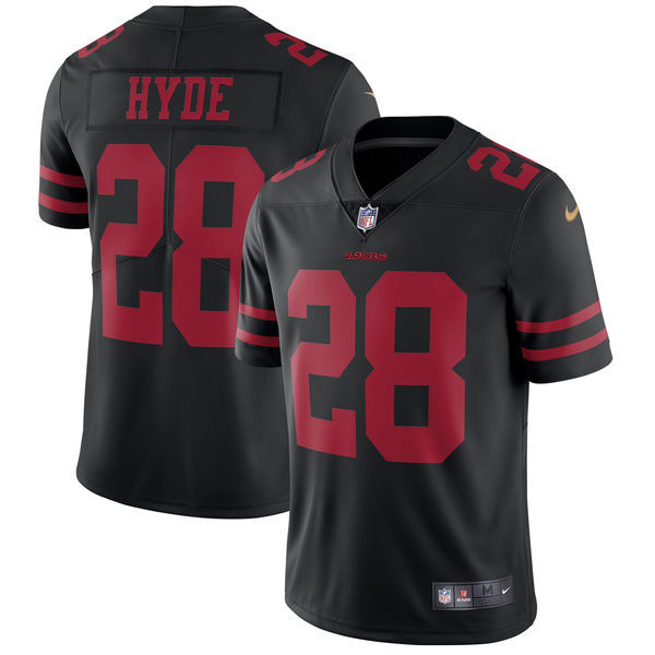 Men's San Francisco 49ers #28 Carlos Hyde Nike Black Vapor Untouchable Limited Stitched NFL Jersey