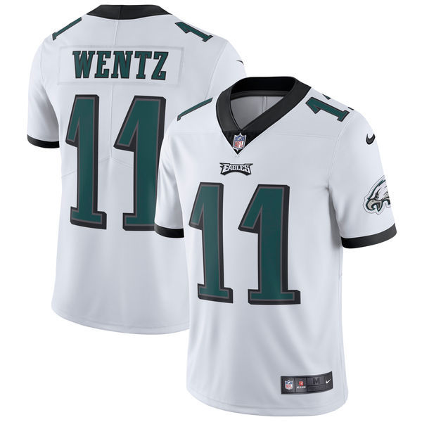 Men's Philadelphia Eagles #11 Carson Wentz Nike White Vapor Untouchable Limited Stitched NFL Jersey