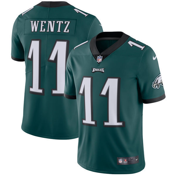 Men's Philadelphia Eagles #11 Carson Wentz Nike Midnight Green Vapor Untouchable Limited Stitched NFL Jersey