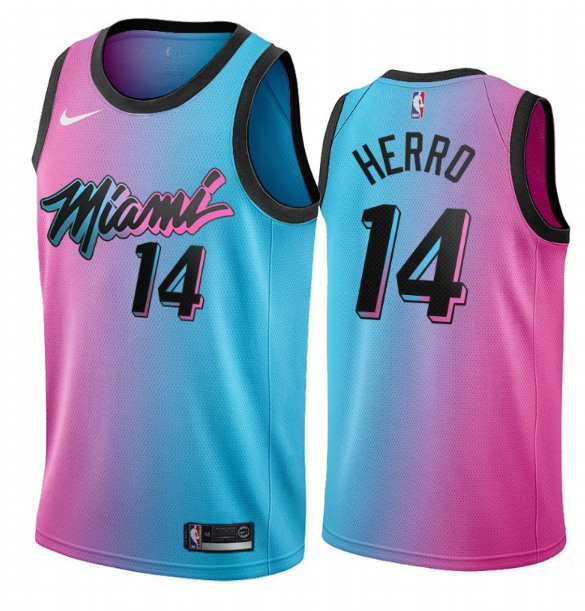 Men's Miami Heat #14 Tyler Herro 2021 Blue/Pink City Edition Vice Stitched NBA Jersey