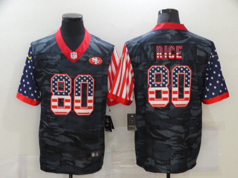 Men's San Francisco 49ers #80 Jerry Rice 2020 Camo USA Flag Limited Stitched NFL Jersey