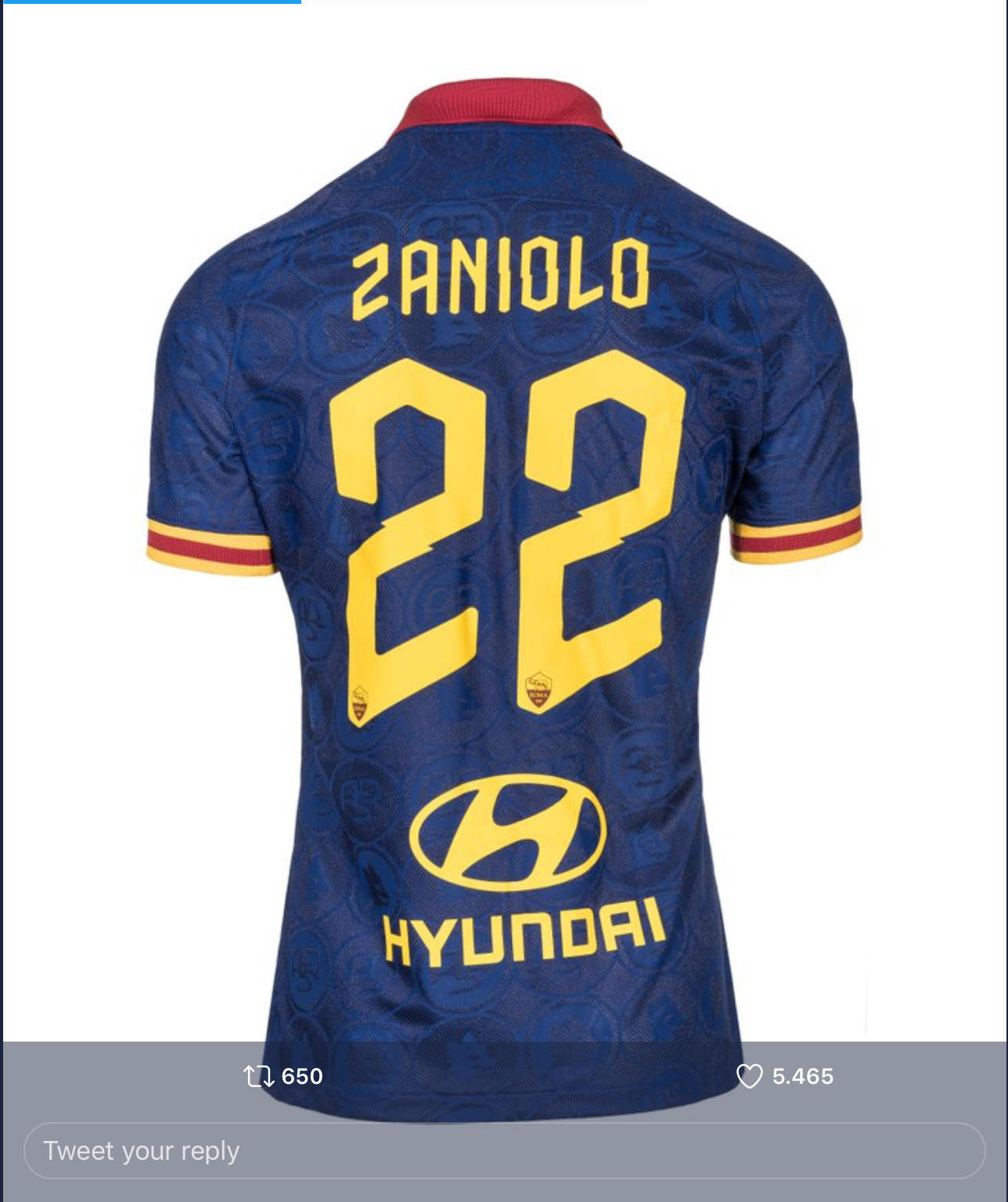 Men's Roma #22 Nicolo Zaniolo Red 2019 Soccer Club Home Official Jersey