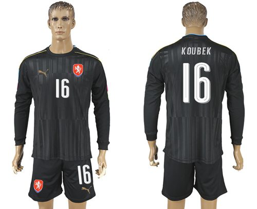 Czech #16 Koubek Black Long Sleeves Goalkeeper Soccer Country Jersey
