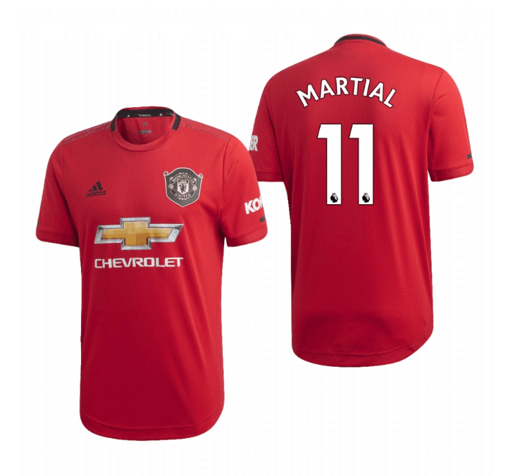 Men's Manchester United #11 Anthony Martial Red 2019 Soccer Club Home Official Jersey