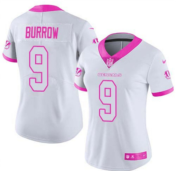 Women's Cincinnati Bengals #9 Joe Burrow White And Pink Vapor Stitched Jersey(Run Small)