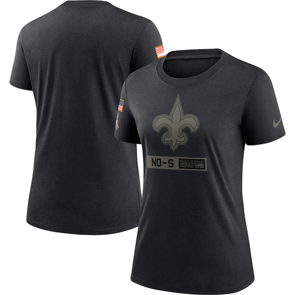 Women's New Orleans Saints 2020 Black Salute To Service Performance NFL T-Shirt (Run Small)