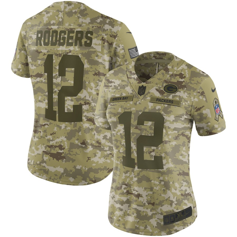 Women's Green Bay Packers #12 Aaron Rodgers 2018 Camo Salute To Service Limited Stitched NFL Jersey