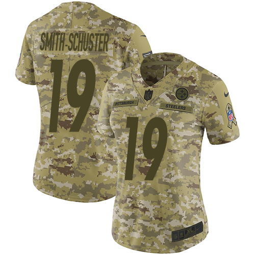 Women's Pittsburgh Steelers #19 JuJu Smith-Schuster 2018 Camo Salute To Service Limited Stitched NFL Jersey