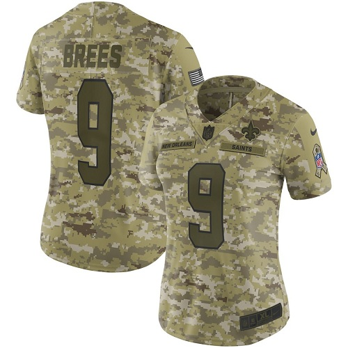 Women's New Orleans Saints #9 Drew Brees 2018 Camo Salute To Service Limited Stitched NFL Jersey