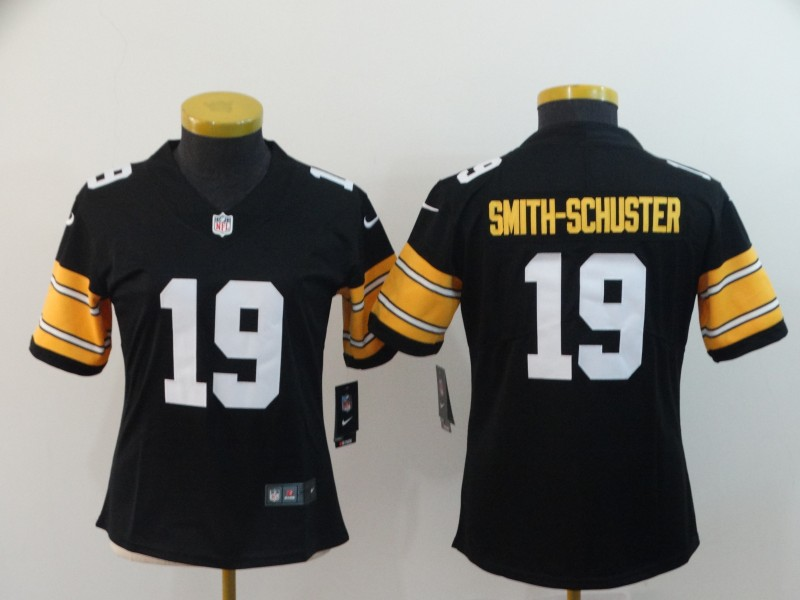 Women's NFL Pittsburgh Steelers #19 JuJu Smith-Schuster Black Vapor Untouchable Limited Stitched Jersey