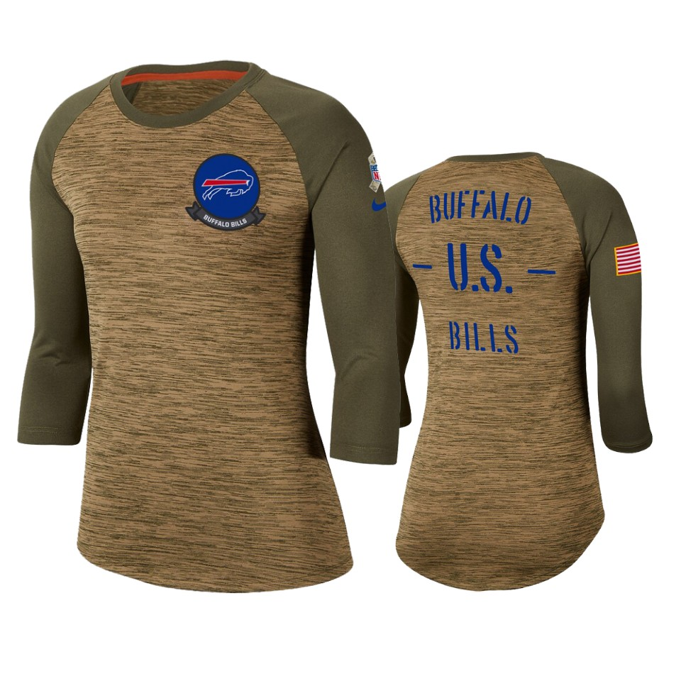 Women's Buffalo Bills Khaki 2019 Salute To Service Legend Scoopneck Raglan 3/4 Sleeve T-Shirt(Run Small)
