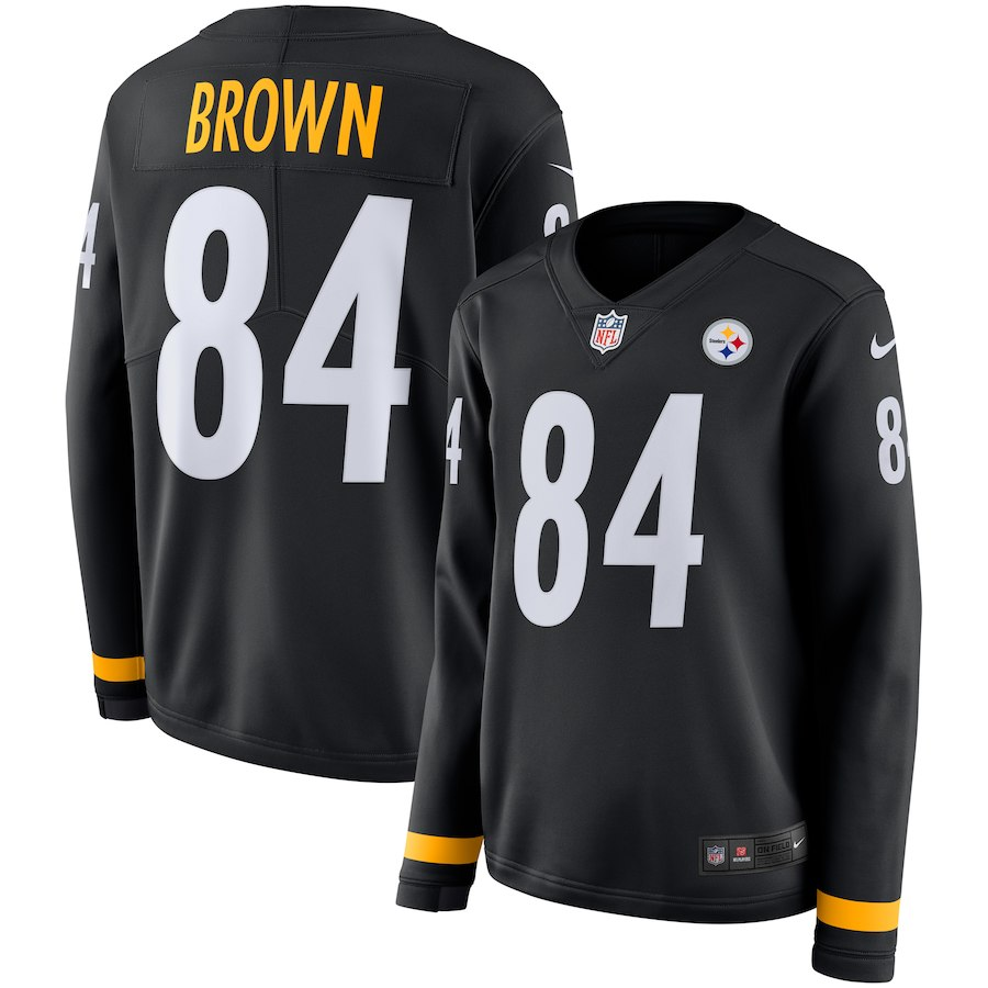 Women's Pittsburgh Steelers #84 Antonio Brown Black Therma Long Sleeve Stitched NFL Jersey