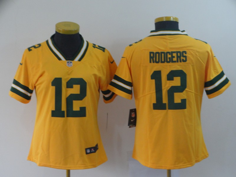 Women's Green Bay Packers #12 Aaron Rodgers Gold Inverted Legend Stitched NFL Jersey(Run Small)