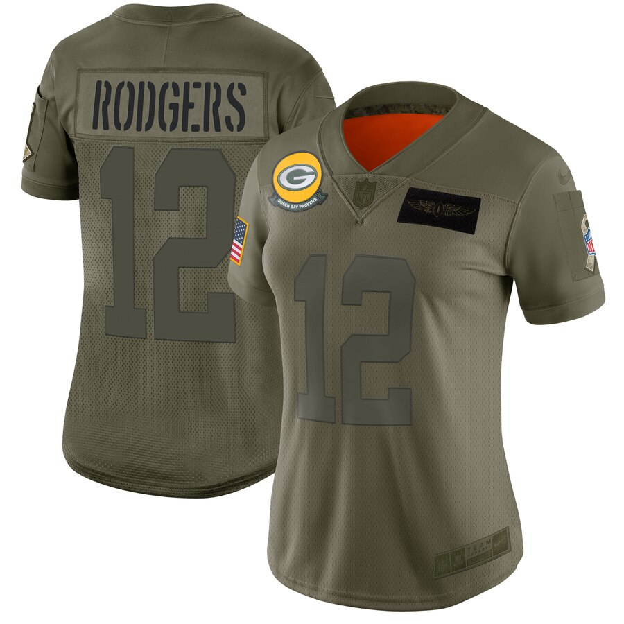 Women's Green Bay Packers #12 Aaron Rodgers 2019 Camo Salute To Service Stitched NFL Jersey(Run Small)