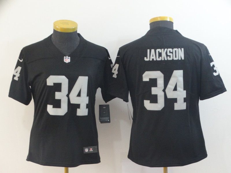 Women's Oakland Raiders #34 Bo Jackson Black Vapor Untouchable Limited Stitched NFL Jersey(Run Small)