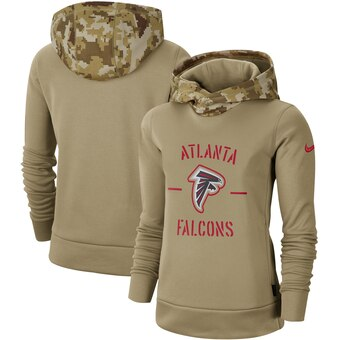Women's Atlanta Falcons Khaki 2019 Salute To Service Therma Pullover Hoodie(Run Small)