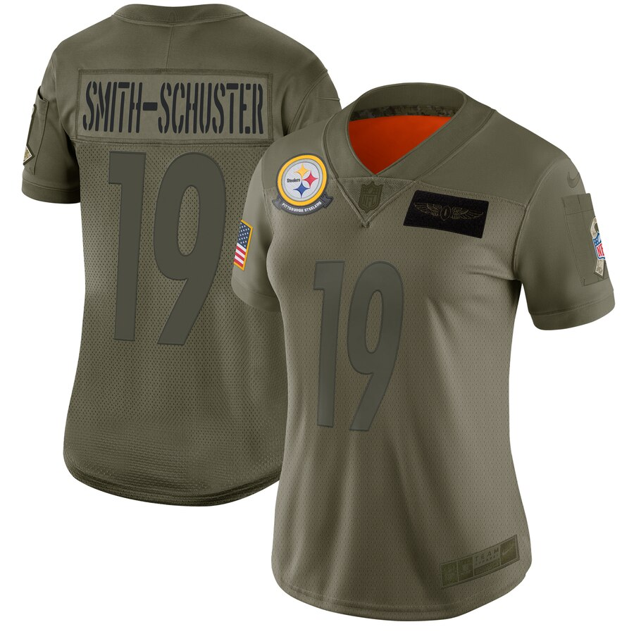 Women's Pittsburgh Steelers #19 JuJu Smith-Schuster 2019 Camo Salute To Service Stitched NFL Jersey(Run Small)