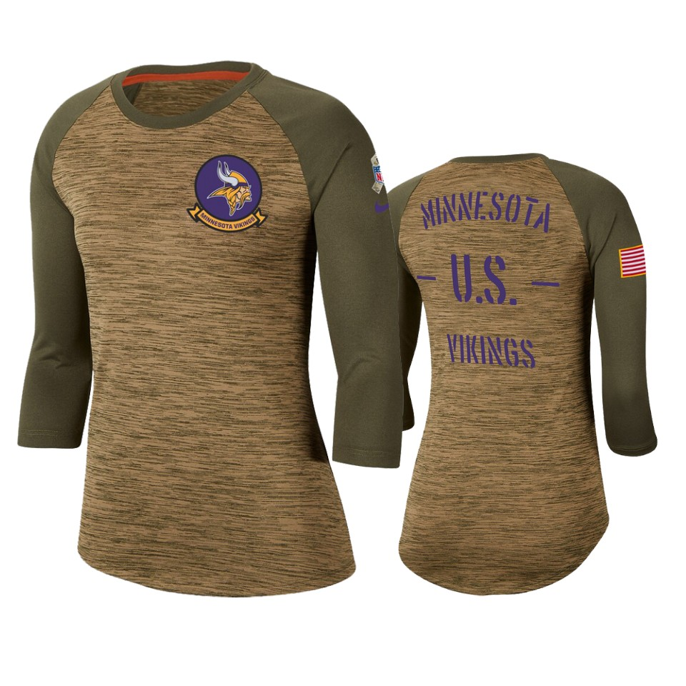 Women's Minnesota Vikings Khaki 2019 Salute To Service Legend Scoopneck Raglan 3/4 Sleeve T-Shirt(Run Small)