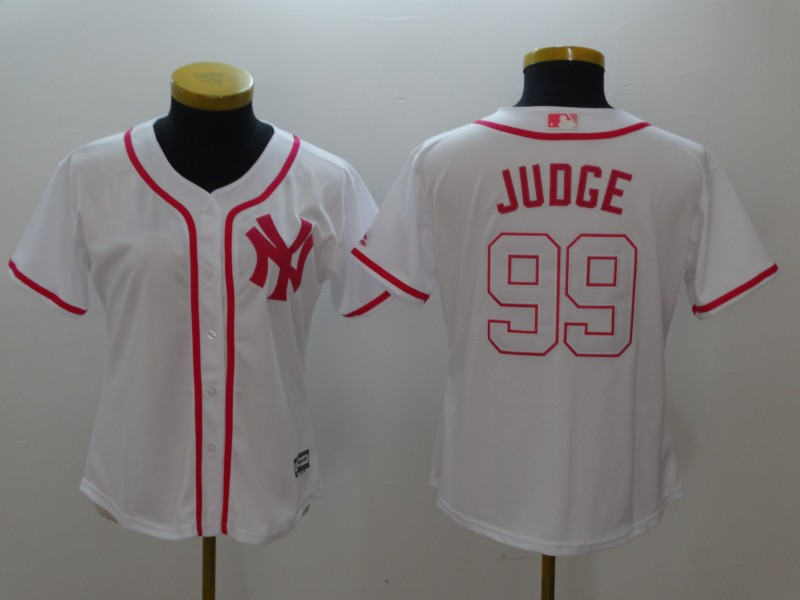 Women's New York Yankees #99 Aaron Judge White Pink Cool Base Stitched MLB Jersey