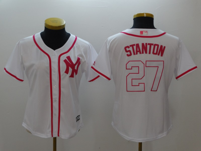 Women's New York Yankees #27 Giancarlo Stanton White Pink Cool Base Stitched MLB Jersey