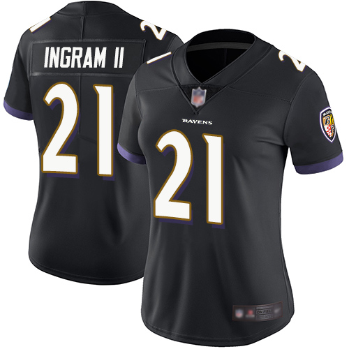 Women's Baltimore Ravens #21 Mark Ingram II Black Vapor Untouchable Limited NFL Jersey