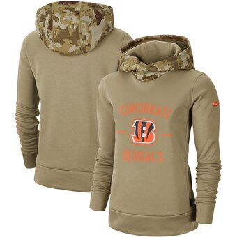 Women's Cincinnati Bengals Khaki 2019 Salute To Service Therma Pullover Hoodie(Run Small)