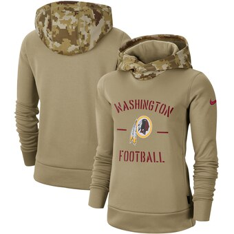 Women's Washington Redskins Khaki 2019 Salute To Service Therma Pullover Hoodie(Run Small)