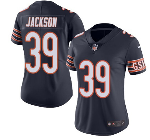 Women's Chicago Bears #39 Eddie Jackson Navy Vapor Untouchable Limited Stitched NFL Jersey(Run Small)