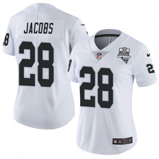 Women's Las Vegas Raiders White #28 Josh Jacobs 2020 Inaugural Season Vapor Untouchable Limited Stitched Jersey(Run Small)