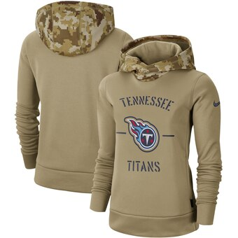 Women's Tennessee Titans Khaki 2019 Salute To Service Therma Pullover Hoodie(Run Small)