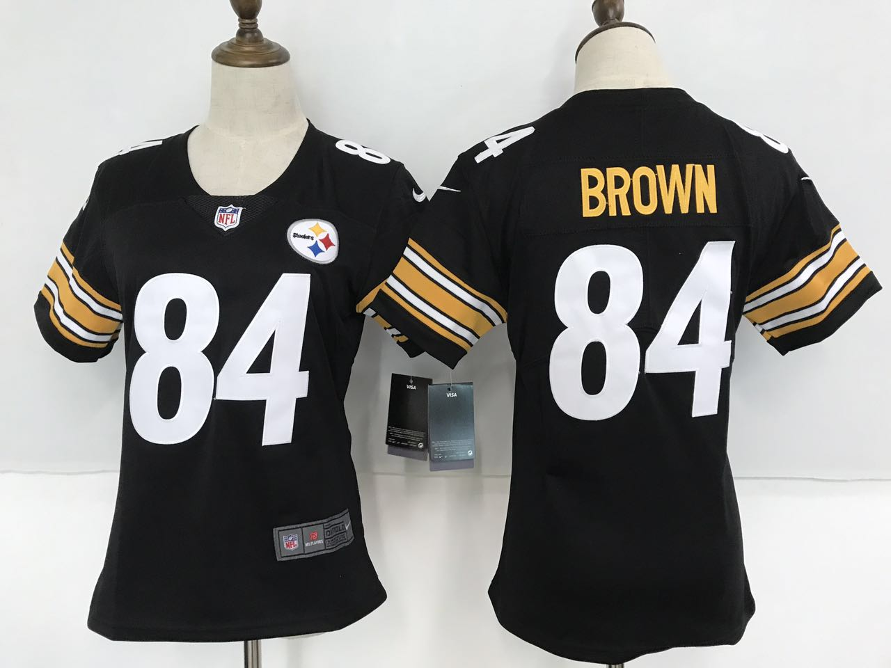 Women's Nike Pittsburgh Steelers #84 Antonio Brown Black Team Color Stitched NFL Vapor Untouchable Limited Jersey